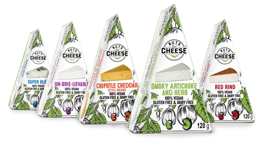 Family photo of five Nuts For Cheese flavours